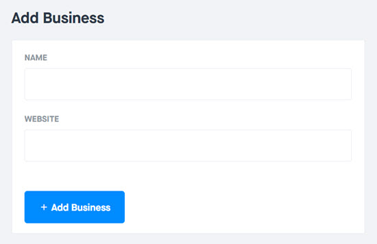 Enter your business name and website