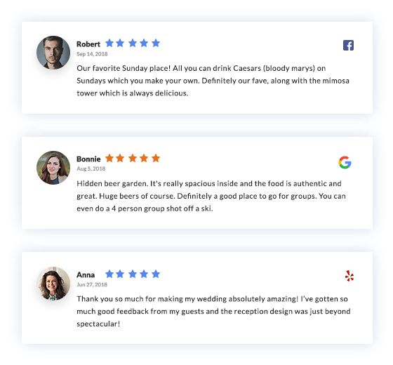 1 Google & Facebook Reviews Widget For Your Website